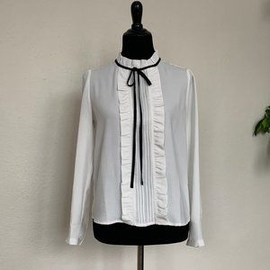F21 white blouse with black tie sz S